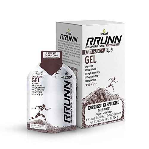 Unived RRUNN Endurance Gel Espresso Cappuccino, Caffeinated (100mg Caffeine) Nutrition Energy Gel for Endurance Athletes, Runners, Cyclists, Triathletes, UltraMarathon Runners, Vegan