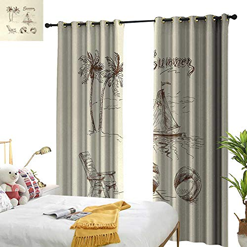 Anyangeight Beach,Decorative Curtains for Living Room,Monochrome Tropical Elements Tree Boat Umbrella Wooden Chair Pattern Sketch Design,W120 xL84,Suitable for Bedroom Living Room Study, etc.