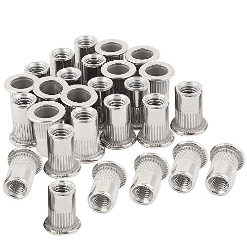 SNUG Fasteners SNG206 3//8-16 UNC Rivet Nuts Zinc Plated Carbon Steel Flat Head Threaded Inserts 40 Forty