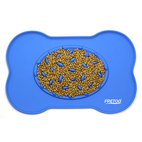 Pet Feeding Mat with Slow Feed bowl - for Dog & Cat Food and Watering - Waterproof Silicone Floor Tray for Small Middle Big Animal - Blue