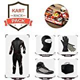 Go Kart Racing Suit Suit,Gloves,Balaclava and Shoes Free Bag - White Side with Black Red Design