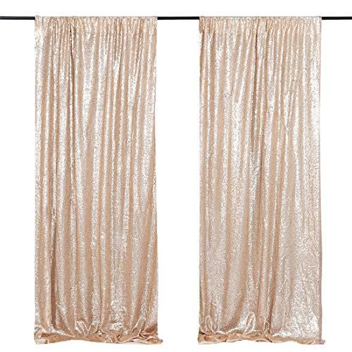 Wedding Sequin Backdrop Curtains 2 Packs 2ftx8ft Champagne Gold Sparkly Fabric Backdrop Birthday Photography Background Decoration