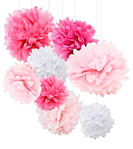 18pcs Tissue Paper Flowers  Pink Party Decorations  Tissue Paper Pom Poms For Baby Shower Wedding Birthday  Paper Pom Pom Set