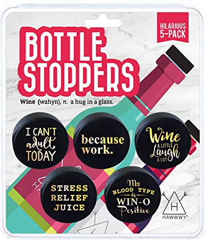 Hawwwy Funny Wine Stoppers, 5 Pack Hilarious Bottle Topper Sayings Cute Kitchen Gadgets Gifts, Air Tight Reusable Unique…