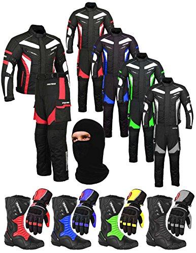CE Armour Full Black Cordura Fabric Waterproof Motorbike Gears Motorcycle 2 Suit Jacket /& Trouser 6 Packs Design Most Popular Medium FREE BALACLAVA