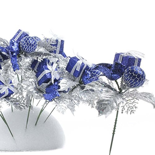 Factory Direct Craft Set of 12 Royal Blue and Silver Chri...