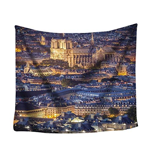 Dergo ☀ tapestryColorful Print Tapestry Art Room Notre Dame Wall Hanging Tapestry Art Nature (A)