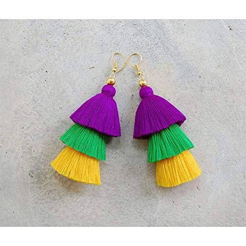 Mardi grass Tassel earrings, 3 Tier Tassel earrings, Boho earrings, Mardi grass Theme earrings -