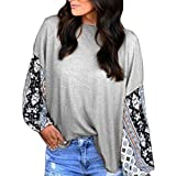Clearance ShenPr Women's Round Neck Floral Print Splice Loose Long Sleeve Blouse Shirt Tunic Tops