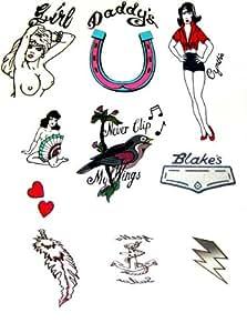 Amy Winehouse Fancy Dress Tattoos Deluxe - Set of 10 (tatuajes temporales)