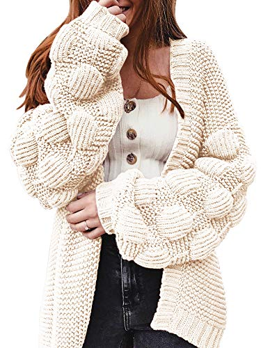 Ferbia Women Oversized Cardigan Knitted Cute Chunky Sweaters Wrap Long Fall Pom Pom Open Front Knit Beige