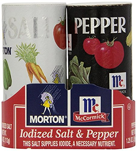 (Morton's 4 oz. Salt and Mccormick 1.25 oz. Pepper Shakers Bundle - Pack of 4)