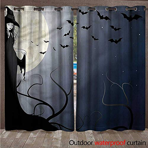 cobeDecor Halloween 0utdoor Curtains for Patio Waterproof Witch in Twilight on High W72 x L84(183cm x 214cm) -