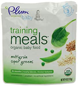 Plum Organics Baby Training Meals, Multigrain Super Greens, 4-Ounce Pouches (Pack of 12)