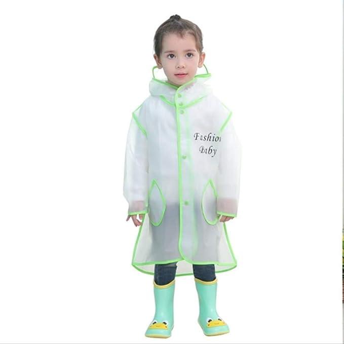 Boys Girls Hooded Raincoat Rainproof Rainwear Poncho Children Rain Coat G