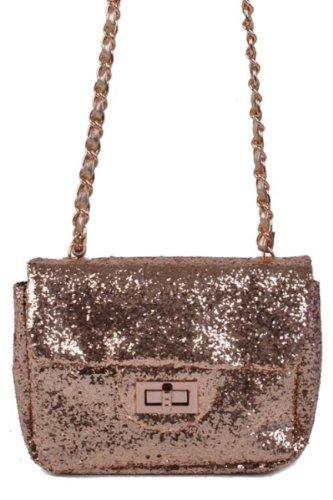GLITTER!!! & Sparkle ADORABLE Small Messenger Style Bag in Black & Gold by Jersey Bling (Black Jersey Messenger Bag)