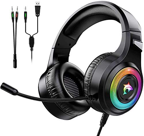 Gaming Headset Xbox One Headset with Stereo Surround Sound,PS4 Gaming Headset with Mic & LED Light Noise Cancelling Over Ear Headphones Compatible with PC, PS4,PS5, Xbox One,Mac