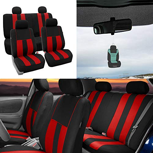 - FH Group Striking Striped Seat Covers Airbag & Split Ready w. Free Air Freshener, Red/Black Color- Fit Most Car, Truck, SUV, or Van