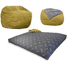 CordaRoy's - Tan Terry Cord Beanbag Chair - Twin Sleeper