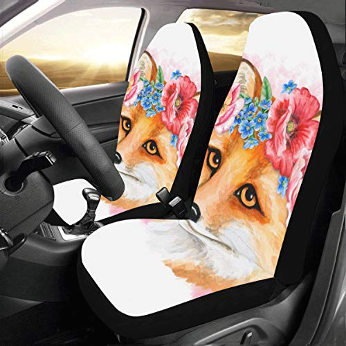 Cute Fox and Fragrant Flowers Custom New Universal Fit Auto Drive Car Seat Covers Protector for Women Automobile Jeep Truck SUV Vehicle Full Set Accessories for Adult Baby (Set of 2 Front)