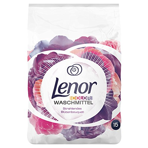 Lenor Colorwaschmittel Pulver Strahlendes Blütenbouquet, 0.9kg, 4er Pack (4 x 15 Waschladungen)