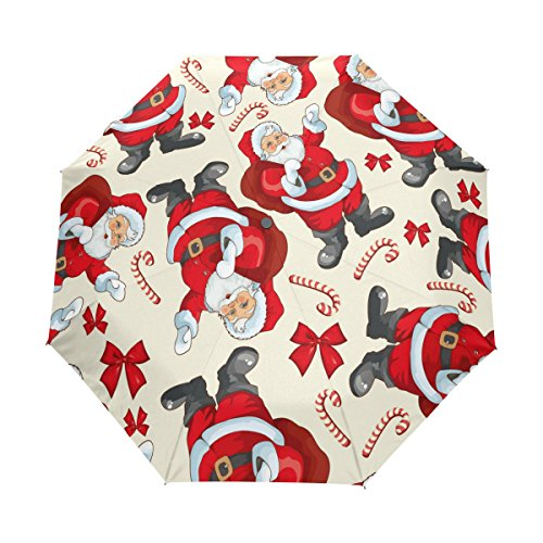 ALAZA Christmas Santa Claus Candy 3 Folds Auto Open Close Anti-UV Umbrella (Halloween Candy Opened)