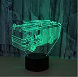 Mariott - Fire Engine 7 Color Change 3D LED Light Acrylic Touch USB Lamp Bedroom Table Desk Creative Night Light Bedside Decor