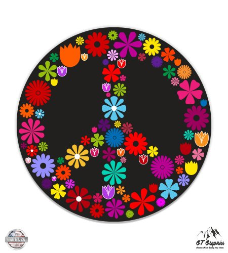 (GT Graphics Peace Sign Flowers - 3