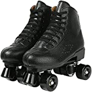 Unisex Roller Skates Double Row Four Shiny Wheels Rubber and PU Leather Classic High-top Roller Skates Shoes f