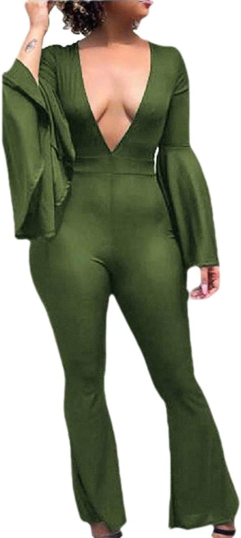 HANA+DORA Womens Fashion Elegant Deep V-Neck Flare Bell Bottom Long Pants Party Jumpsuit Romper Clubwear