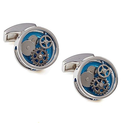 Tateossian Round Gear Cufflinks with Blue Perspex Blue Round Cufflinks