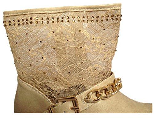 Botín de mujer de encaje diseño de Botas con tacón motard cremallera SM209 bota 14,28 cm, color BEIGE
