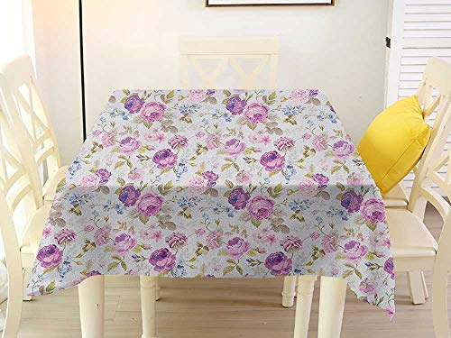 Adoration Quilts - Square Tablecloth Plastic Floral Floral Pattern Pastel Tones Love and Adoration Theme Lovely Leaves Petals Lilac Green Pale Blue Party 70 x 70 Inch