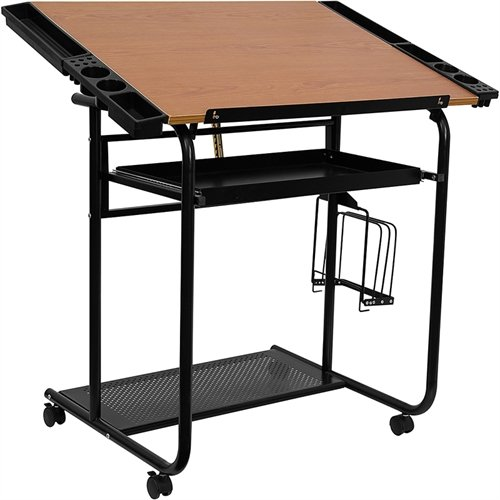 Flash Furniture Adjustable Drawing and Drafting Table with Black Frame and Dual Wheel ()