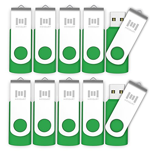 10 X MOSDART 16GB USB2.0 Flash Drives in Bulk Swivel Design Thumb Drives with Led Indicator,Green 10pack