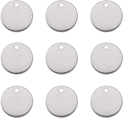 100pcs 304 Stainless Steel Round Metal Tags Stamping Blanks Tag Charms