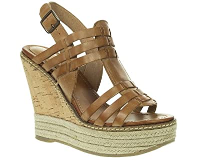 red tape leather ladies tan sandals