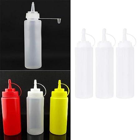 5pcs 8oz transparent Quetschflasche Tomatensauce Flasche Gewürzspender