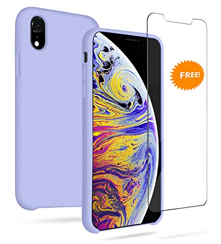 GARLEX-iPhone Xr Silicone Case,Liquid Gel Rubber Full Body Protection Shockproof Case (Include Free Screen Protector), Soft Microfiber Cloth Lining Cushion Compatible with iPhone Xr, Purple