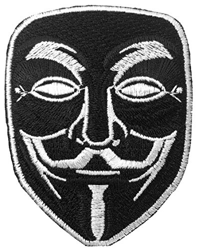 [V for Vendetta Anonymous Guy Fawkes Mask Sewing Iron on Emroidered Patch - Black (IRON-VFOR-BK)] (Pun Costumes For Guys)