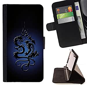 BullDog Case - FOR/HTC DESIRE 816 / - / Tribal Dragon /- Monedero de cuero de la PU Llevar cubierta de la caja con el ID Credit Card Slots Flip funda de cuer