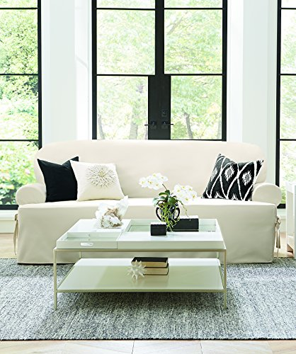 SureFit Duck Solid T-Cushion - Loveseat Slipcover  - Natural (Best Cushion Covers Of Loves)