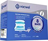 Vacwel Vacuum Bags Storage Space Saver Pack, Mid-Size Bags for Clothes Compression, Extra Travel Room or Blanket Storage, Made Extra Strong. 8 Bags (4 Bags 32x21inch + 4 Bags 28x20inch + Hand Pump)