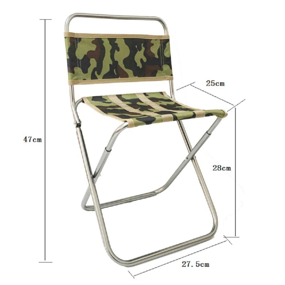 [Design Trädgårdsstol – vikbar fiskestol – svart aluminium direktörer hopfällbar stol – ultralätt – bärbar – för camping vandring fiske resa picknick Kamouflage