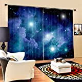 LB Space Decor Curtains for Living Room Bedroom, Nebula Star Universe in Deep Blue, House Decoration Window Drapes, 80x95 Inches (2 Panels Size)