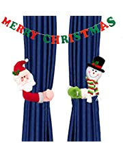 Christmas Curtain Buckle Tieback Santa & Snowman, Window Decorations Christmas Decor Cartoon Doll Curtain Bedroom Living Room Curtain Hook Fastener Buckle Clamp Home Decor (2 Pack+1 Hanging Banners)