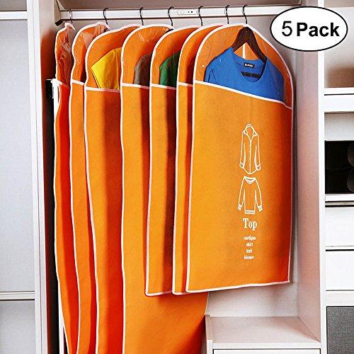 Cotton Garment Clothes (Breathable Garment Bag Suit Bag with Full Zipper & Eyehole & Clear PVC Window for Folding for Suit Carriers, Dresses, Storage or Travel by Daint Pack of 5 (35''x 3PCS + 47''x 2PCS) (Orange))