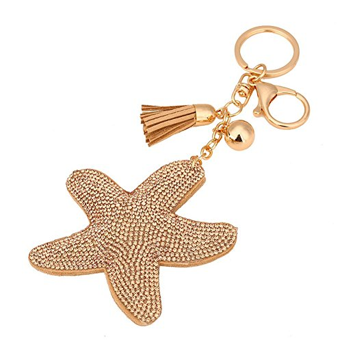 BAO Rhinestone Starfish Leather Tassel Pendant Charm Car Bag Purse Keychain (Gold Car Charm)