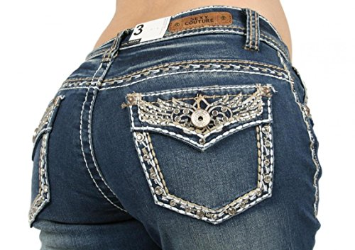 SEXY COUTURE Women's S447-PB Patchwork Wing Boot Cut Denim Jeans 3-17 - Waist 9 ()