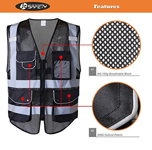 JKSafety 9 Pockets Class 2 High Visibility Zipper Front Safety Vest With Reflective Strips,HQ Breathable Mesh, Oxford Fabric for pocket materials. Black Meets ANSI/ISEA Standards (X-Large, Black) … by JKSafety (Image #1)